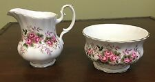 Royal Albert Lavender Rose Creamer and Sugar Bowl - Bone China, England