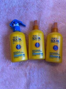 Tesco Soleil Sun Cream SPF 15 30 50 BRAND NEW SEALED X 3