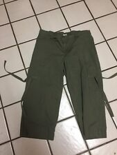 Duo Maternity Olive Green Stretch Cotton Cropped Capri Casual Pants Sz S
