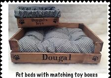 RUSTIC WOOD PET BED & TOY TREAT BOX * PERSONALIZED FOR YOUR PUPPY CAT PUG DOG