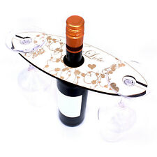 Weinbutler für 2 Gläser Weinglashalter Gravur Weinliebe Herzen Weinrebe  28x11cm