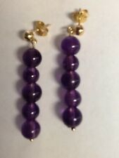 """14kt YELLOW GOLD AMETHYST BEAD EARRINGS NEW WITH TAGS 1-1/2"""""""