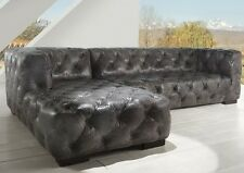 "118"" Handmade RSF Loveseat LSF chaise sectional gray leather tufted spectacular"