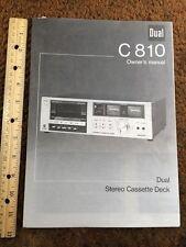 "Dual C810 Cassette Deck ""Original"" Owners Manual 6 Pages"