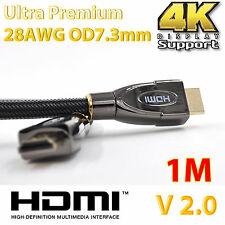 1m Ultra Premium HDMI Cable Gold Plated V2.0 High Speed 3D Audio 4K x 2K Full HD