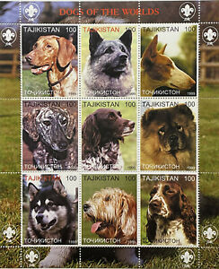 DOGS OF THE WORLD STAMPS 1999 MNH FAUX ISSUE COCKER SPANIEL HUSKY POINTER PETS