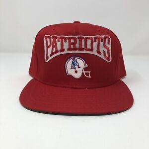 Vintage 90's New Era Snapback Hat New England Patriots Red Helmet Adjustable
