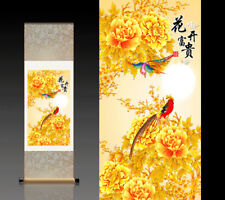 Chinese Silk Scroll Painting Birds Home Office Decoration(锦雀富贵图)
