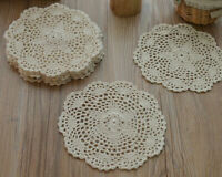 Lot 8 Round Hand Crochet Cream Doilies Rustic Wedding Fabric Coasters for Table