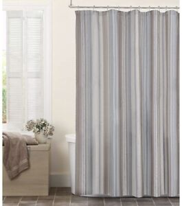 "MAYTEX Jodie Chenille Striped Fabric Shower Curtain, 70""x72"""