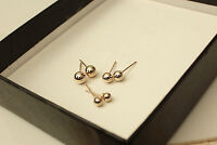 New 18K Gold Plated 3 Pairs Cute Round Ball Beads Stud Earrings Set with ear nut