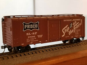 """HO Scale 40' Frisco """"Ship it on the Frisco"""" box car #27006, built 1946, metal wh"""