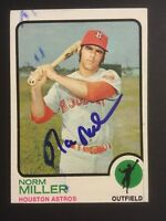 Norm Miller Astros Signed 1973 Topps Baseball High # Card #637 Auto Autograph 3
