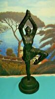 "Free Form Ballet Dancer posing Cast Iron Sculpture statue Figurine 17"" tall"