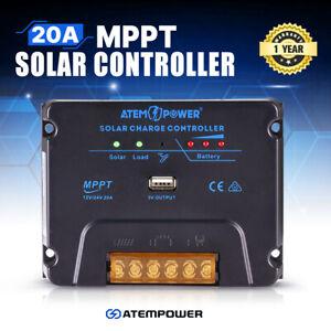 20A MPPT Solar Charge Controller Solar Panel Battery Regulator 12V/24V USB