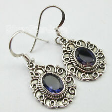 """92.5% Pure Sterling Silver Genuine VIOLET IOLITE Stone OXIDIZED Earrings 1.3"""""""