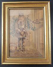 "George Baxter Print, c 1850's Cold Boy  ""Christmas Time"", Framed & Glazed"