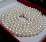 7-8mm White AAA Freshwater CULTURED Round Pearl Necklace 36''