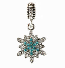 European 925 Silver Snowflake CZ Charm Beads Fit sterling Necklace Bracelet A#94
