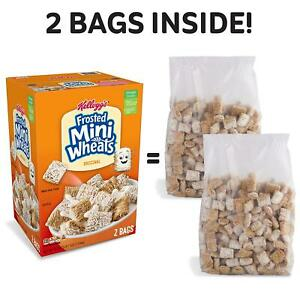 KELLOGG'S FROSTED MINI WHEATS 55.0 oz TWO BAGS FOR FRESHNESS (ONE BOX)