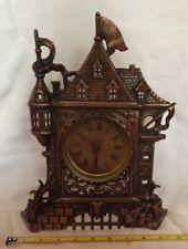 """Unique Vintage Castle House Clock Regent? Iron Shelf Mantle 13""""x10"""" Copper tone"""