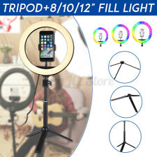 8/10/12'' RGB LED Ring Light Dimmable Lamp Photo Video Selfie Tripod For Youtube