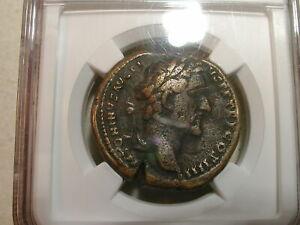 Antoninus Pius 138-161 AD ROMAN EMPIRE NGC Fine Sestertius rv Mars Advancing