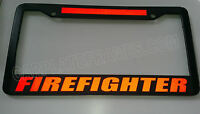 FIREFIGHTER BRIGHT REFLECTIVE RED Line License Plate Frame thin  fire safety