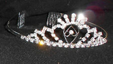 NEW SILVER METAL RHINESTONE TIARA CRYSTAL DANCE Wedding Pageant  lasercut center