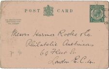 1916 H&B Cp70 Used Outward Only to London Kgv 1/2d Green L13 Ps Reply Pc Reduced