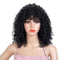 18inch Synthetic Afro Kinky Curly Wigs For Black Women Short Wavy Full Head Wigs