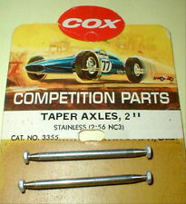 """COX  2 13/16"""" Precision Tapered Stainless Steel Axles + 4 Nut #3358 Slot Car"""