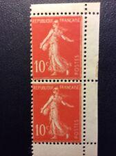 France N° 135 10 c  Rouge Neuf ** Paire De Carnet TB Qualité Cote 90€