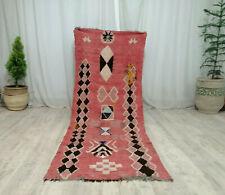 Vintage Moroccan Handmade Rug 2'9x7'6 Geometric Berber Red Tribal Wool  Carpet