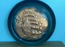 Vintage Nautical Brass Sail Boat Pirate Ship Wall Hanging Plate Pool House Decor