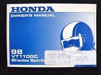 ORIG 1998 HONDA 1100 VT1100C SHADOW SPIRIT MOTORCYCLE OPERATORS MANUAL VERY NICE