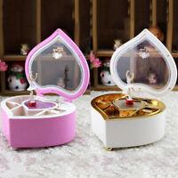 Retro Dance Girl Ballerina Musical Jewelry Box Love Heart Shaped Gift