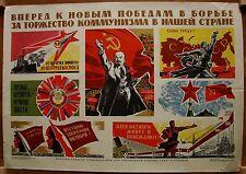 1968 Soviet Russian Original POSTER Forward to new victory Communism propaganda
