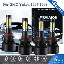 4Pcs COB White LED Hi/Low Beam Headlight Bulbs For GMC Yukon 1994-1998