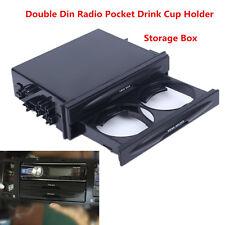 Universal Car Autos Black Double Din Radio Pocket Drink Cup Holder Storage Box