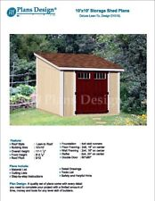10' x 10' deluxe shed plans, lean to roof style design # D1010L, material list