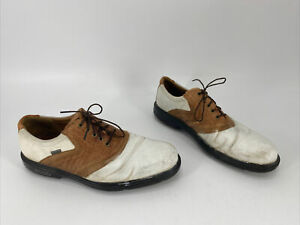 ECCO Men's Gore-Tex Leather Golf Shoes Spikes White Brown EUR 45 / US 11 - 11.5