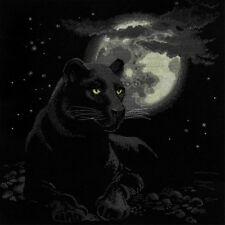 Full Moon Counted Cross Stitch Kit Riolis NEW panther cat night black art jungle