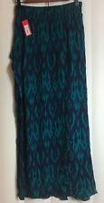 Xhilaration women's blue green long dress size small elastic waist