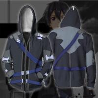 Anime Sword Art Online Kirito Round Collar Sweatshirt Pullover Casual Coat #M5TD