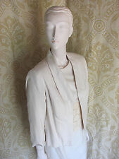 Vintage Creme Skirt Suit 3pc Outfit SzS/M Raw Silk Look 1950s