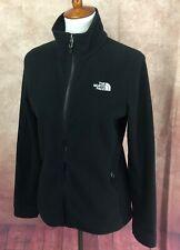 North Face Fitted Full Zip Mock Neck Pockets Fleece Logo Black Jacket Women's S