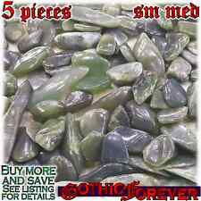5 Sm Med 15mm Combo Ship Tumbled Gem Stone Crystal Natural - Jade Nephrite Mix