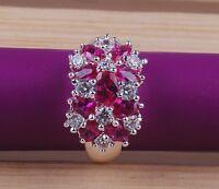 New Ruby & white zircon  925 silver fashion jewelry wedding rings size 6-10