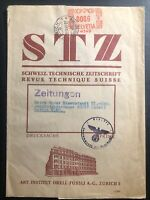 1941 Zurich Switzerland Meter Wrapper Cover To Berlin Germany Technical Magazine